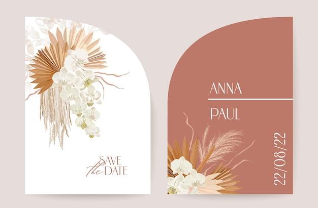 Moderne minimale art deco bruiloft vector uitnodiging set. boho orchidee, pampagras, lunaria kaartsjabloon. tropische bloemen, palmbladeren poster, bloemen frame. save the date trendy design, luxe brochure
