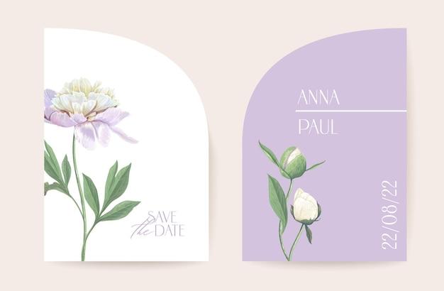 Moderne minimale art deco bruiloft vector uitnodiging set. boho pioen bloem kaartsjabloon. lente pastel bloemen poster, bloemen frame. save the date trendy design, luxe brochure