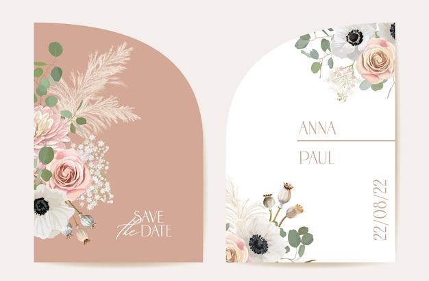 Moderne minimale bloemen bruiloft vector uitnodiging set. boho-anemoon, pampagras, rooskaartsjabloon. lente bloemen poster, bloemen frame. save the date trendy design, luxe brochure