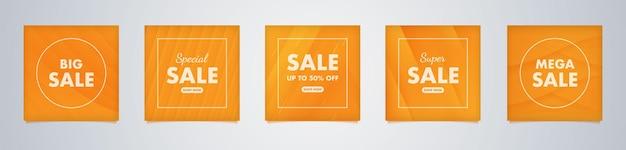 Moderne minimale vierkante bannersjabloon met oranje kleurverloopachtergrond geschikt voor sociale media