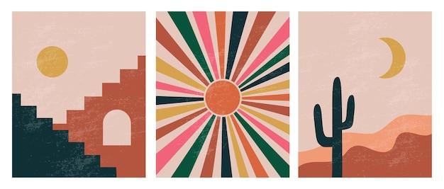 Moderne minimalistische abstracte esthetische illustraties