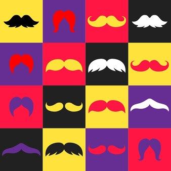 Moderne minimalistische kleurrijke hipster snorren illustraties