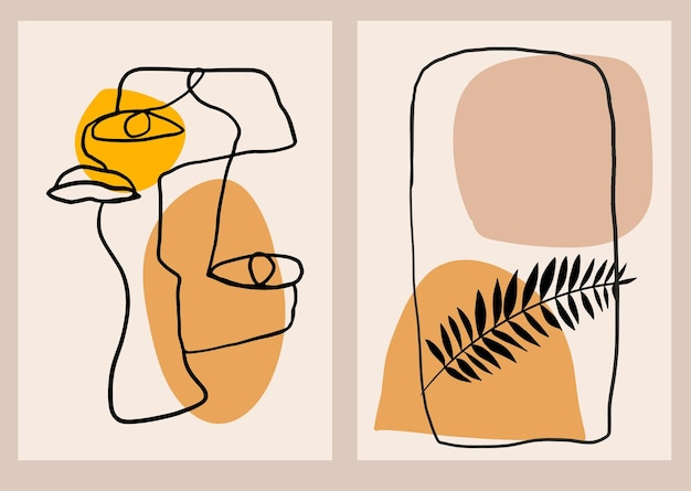 Moderne minimalistische poster met lijntekeningen, abstracte gezichtsvormen en tropische bladeren kunstcollage aan de muur