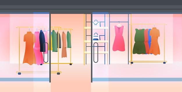 Moderne mode winkel interieur leeg geen mensen vrouwelijke kledingwinkel horizontale vectorillustratie