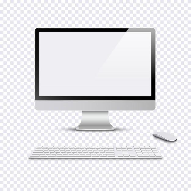 Moderne monitor met toetsenbord en computermuis op transparante achtergrond