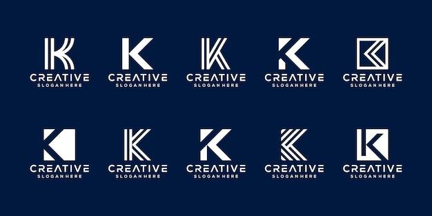 Moderne monogram letter k logo sjabloon instellen