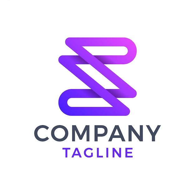 Moderne monoline letter z paars verloop logo