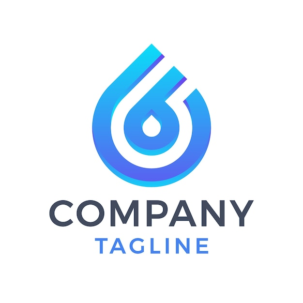 Moderne monoline waterdruppel zes letter b blauw kleurverloop logo ontwerp