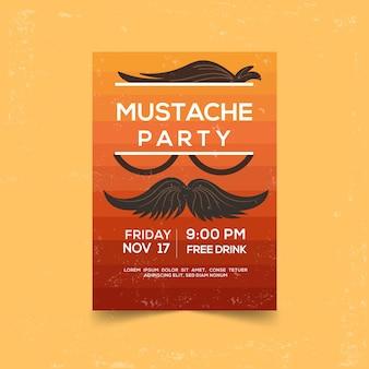 Moderne movember party poster met plat ontwerp