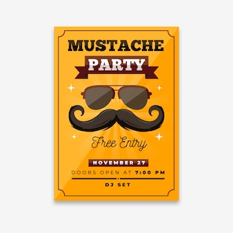 Moderne movember party poster met plat ontwerp
