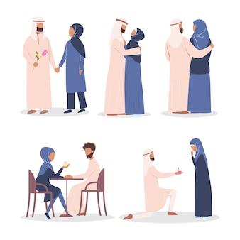 Moderne mulim paar liefdesverhaal set. arabische vrouw en man zijn verliefd. liefhebbers die samen tijd doorbrengen op een date en een voorstel.