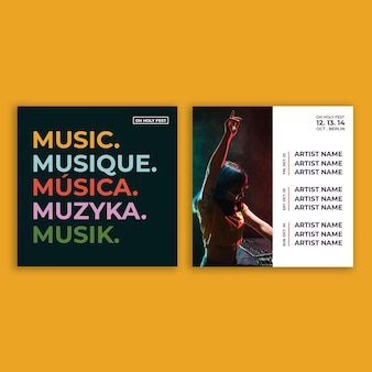 Moderne muziek evenement instagram post