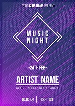 Moderne muziek nacht poster sjabloon klaar om af te drukken