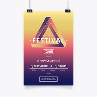 Moderne muziekaffiche met penrose driehoek