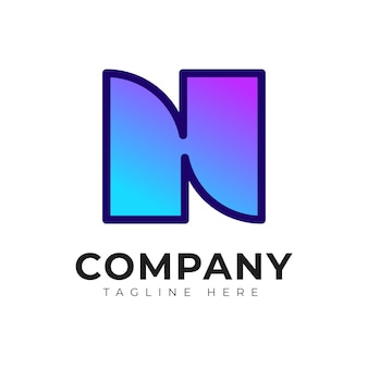 Moderne n hn en nh beginletter logo ontwerpsjabloon