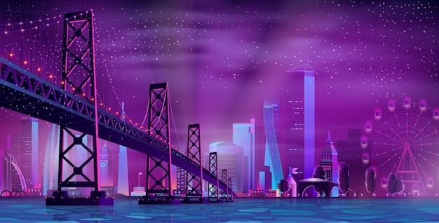 Moderne nacht stad cartoon vector stedelijke achtergrond