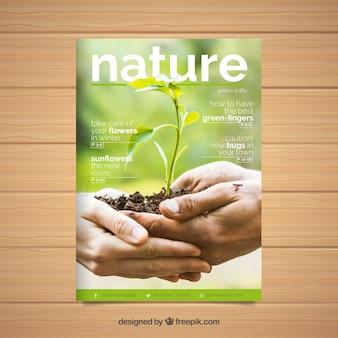 Moderne natuur dekking van de tijdschriftsjabloon met foto