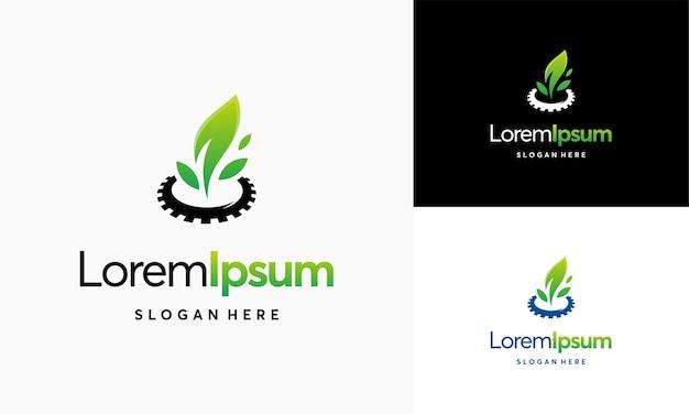 Moderne natuur technologie logo, blad en versnelling machine vector, landbouw logo sjabloonpictogram, groene eco tech logo sjabloon ontwerp vector, natuur industrie