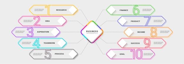 Moderne neon dunne lijn infographic sjabloon voor succes
