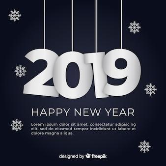 Moderne nieuwe jaar 2019-samenstelling met vlak ontwerp