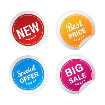 Moderne nieuwe, speciale aanbieding en grote verkoopstickers, geweldig voor elk doel. illustratie.