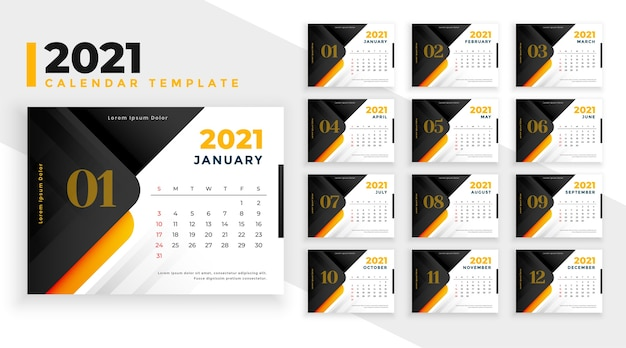Moderne nieuwjaar kalendersjabloon