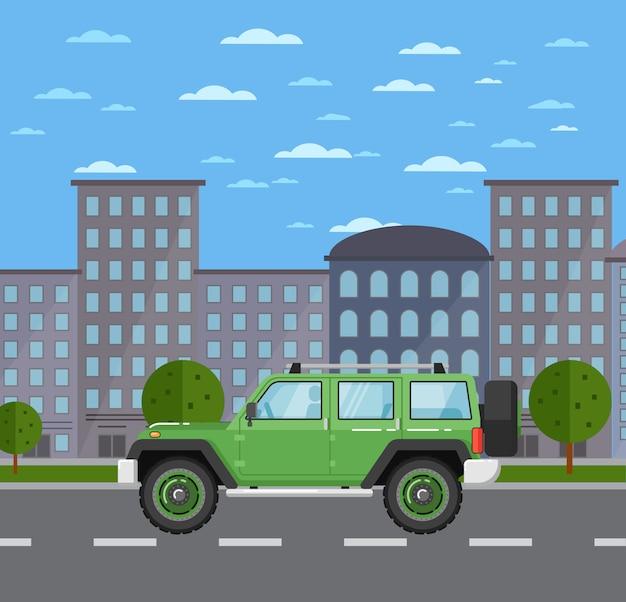 Moderne off-road auto in stedelijk landschap