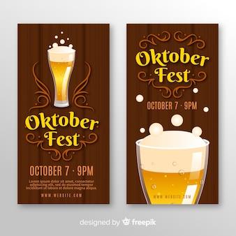 Moderne oktoberfest-banners met vlak ontwerp