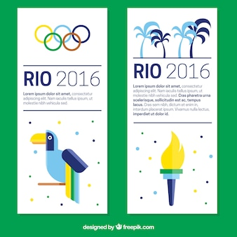 Moderne olympische spelen banners in plat design
