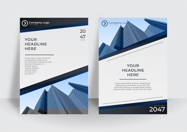 Moderne omslagontwerpsjabloon in blauwe kleur. ontwerpsjabloon voor bedrijfsjaarverslag of boek