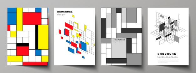 Moderne omslagsjablonen in a4-formaat voor brochure, abstracte veelhoekige achtergrond