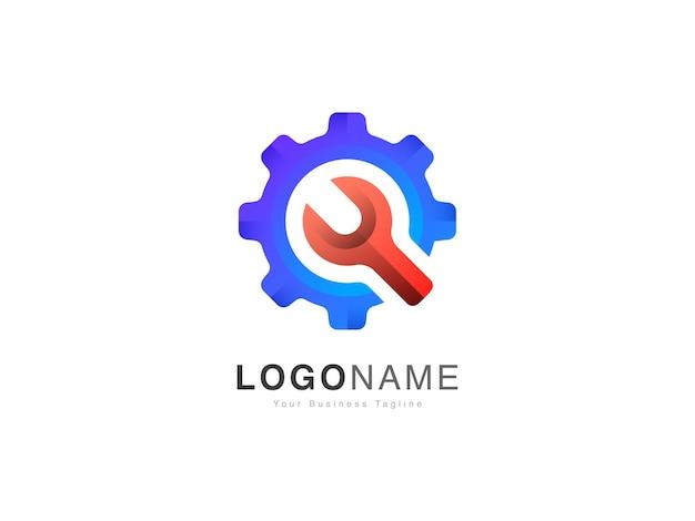 Moderne onderhoudsautoreparatie-logoset met ontwerp in versnellings- en moersleutelstijl