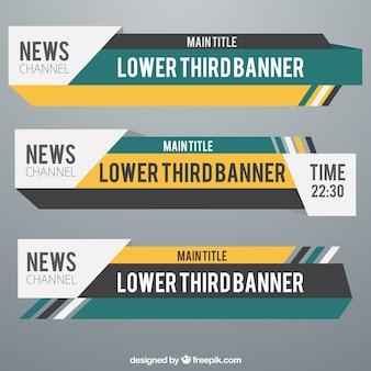 Moderne onderste derde banners ingesteld voor televisie