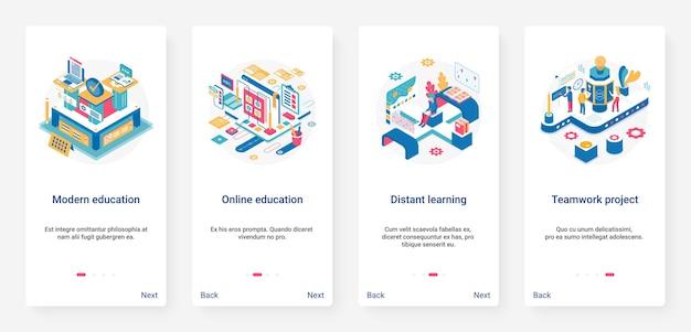 Moderne online onderwijstechnologie voor afstandsonderwijs ux ui mobiele app-paginaschermset