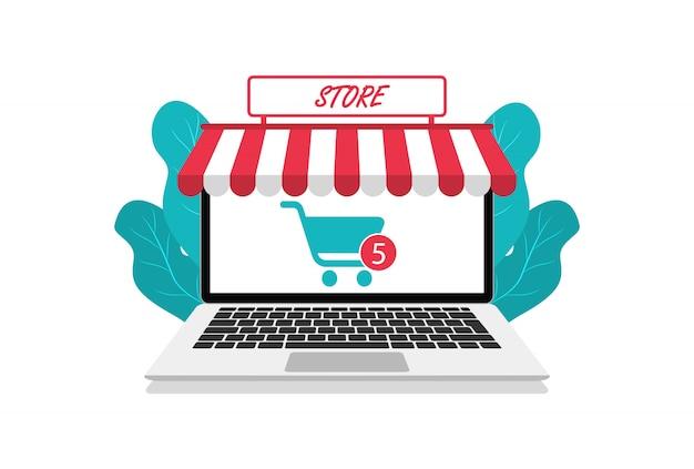 Moderne online winkel in laptop. online winkelen. vlakke stijl. voor websites en app.
