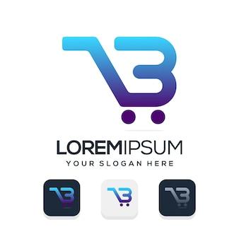 Moderne online winkel letter b logo sjabloon