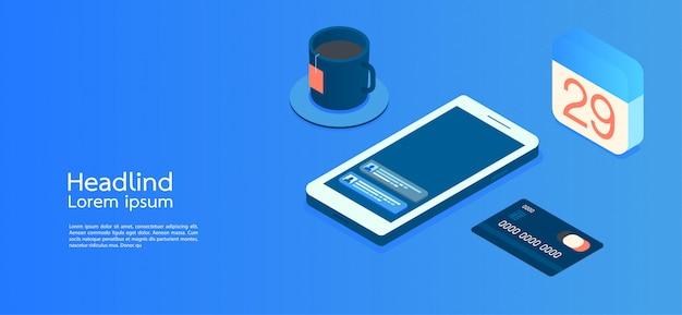 Moderne ontwerp isometrische concept bedrijf. smartphone