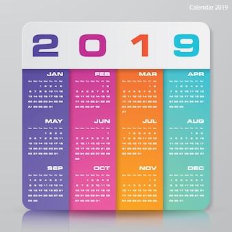 Moderne ontwerpkalender 2019