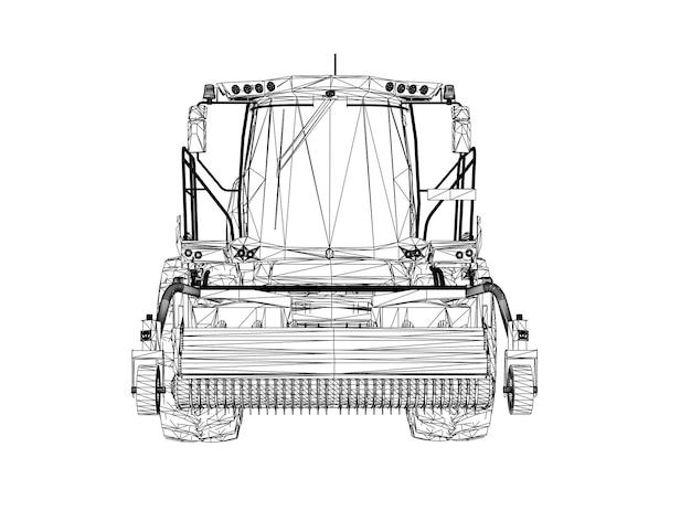 Moderne oogstmachine op een witte achtergrond. abstracte creatieve vectorlijnen verbonden met punten.