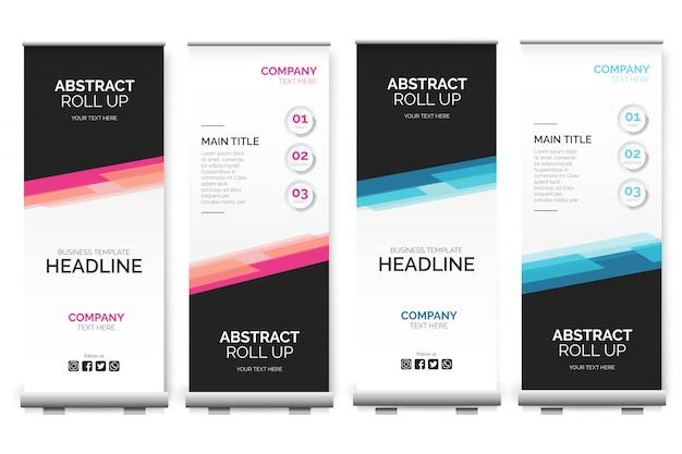 Moderne oprolbare banner met abstracte vormen