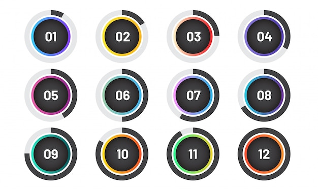 Moderne opsommingstekens instellen met cirkeldiagram. trendy cirkelmarkers met nummer.