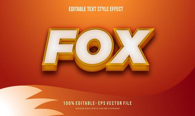 Moderne oranje vos-tekststijl. vector bewerkbaar tekststijleffect.