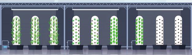 Moderne organische hydrocultuur verticale boerderij interieur landbouw slim landbouwsysteem concept groene planten groeiende industrie horizontale banner