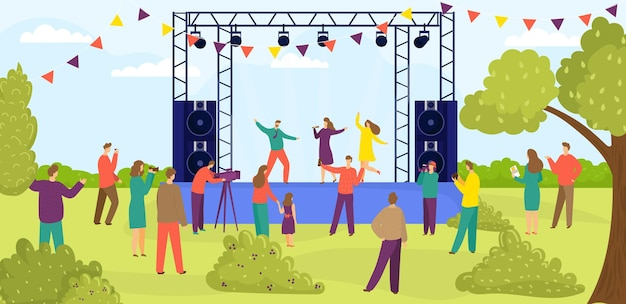 Moderne outdoor rock muziekfestival mensen karakter samen kijken naar entertainment prestaties flat ve ...