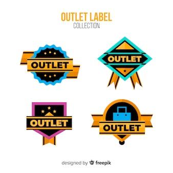 Moderne outlet-badgecollectie met plat ontwerp