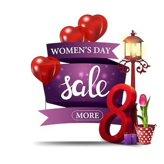 Moderne paarse kortingsbanner aan de dag van de vrouw