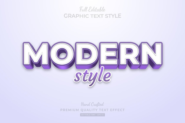 Moderne paarse stijl bewerkbare premium teksteffect lettertypestijl