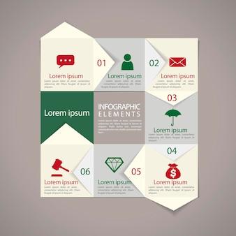 Moderne papieren textuur stroomdiagram infographic elementen sjabloon