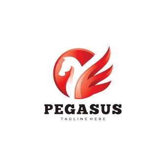 Moderne pegasus-logo, paard en vleugel pictogram