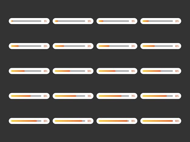 Moderne pictogrammenset voortgangsbalk vectorillustratie